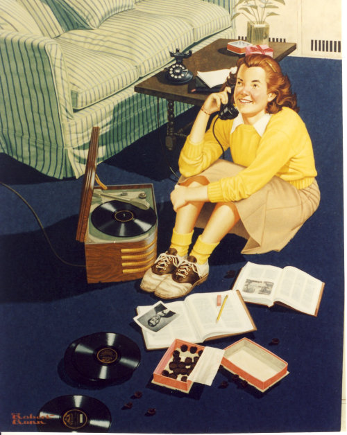Illustration of girl doing homework while talking on Phone