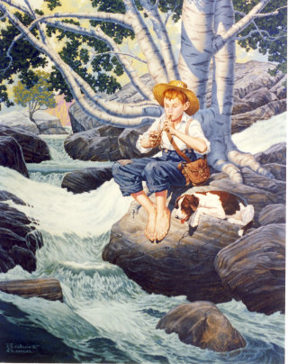 Art of boy with his dog playing a flute by a stream