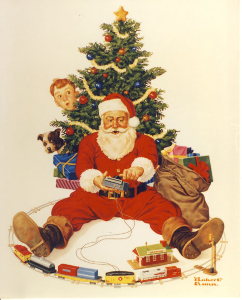 Illustration of Santa playing with toy train under tree
