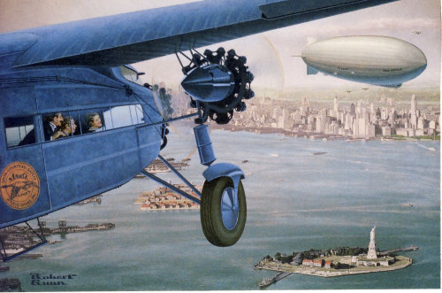 Editorial illustration of Passengers in Ford tri-motor approaching over New York