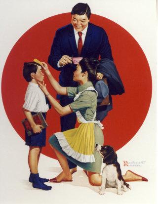 Art of Japanese family preparing for work and school