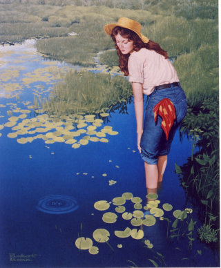 Illustration of woman standing by pond