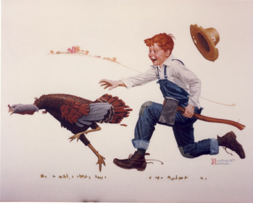 Art of Boy trying to catch the Thanksgiving turkey by Robert Gunn