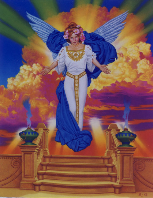 Vintage art of Angelic being floating over staircase