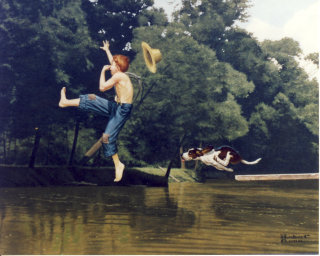 Illustration of young boy jumping into pond being chased by dog