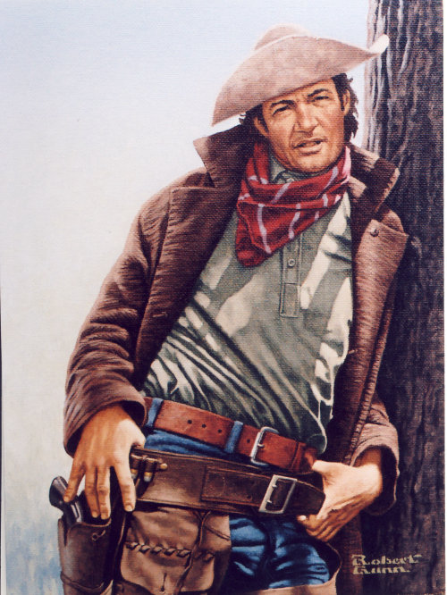 Illustration of outlaw leaning against a tree by Robert Gunn