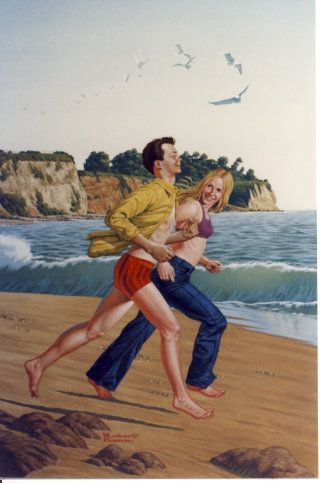 Illustration of young couple running along the beach