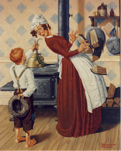 Illustration of boy giving his favorite aunt a gift