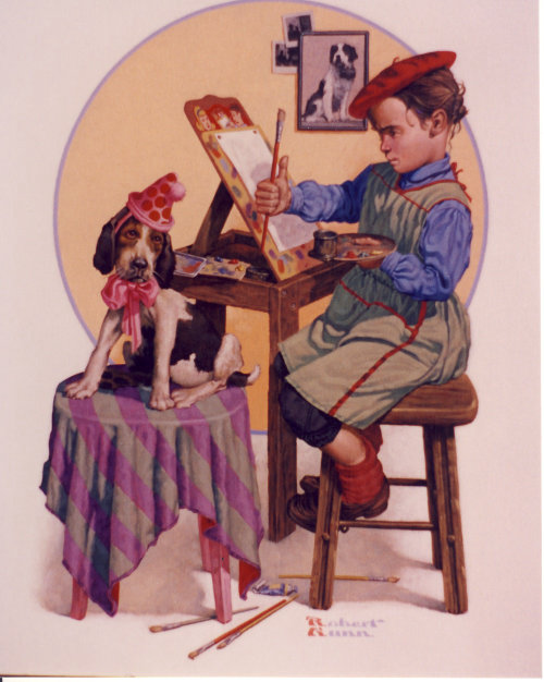 Illustration of young girl doing a portrait of her favorite pet