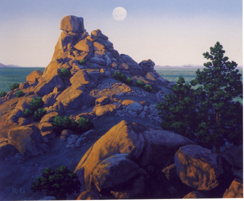 Full moon rising over desert landscape by Robert Gunn