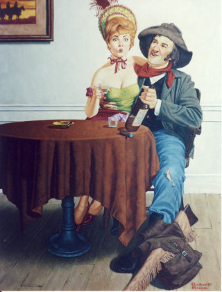 Cowboy making a proposal to a dance hall girl