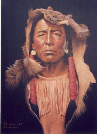Portrait of brave Indian wore out from battle against white men