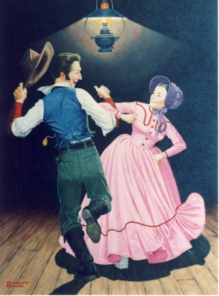 Ilustration of couple dancing at country hoedown