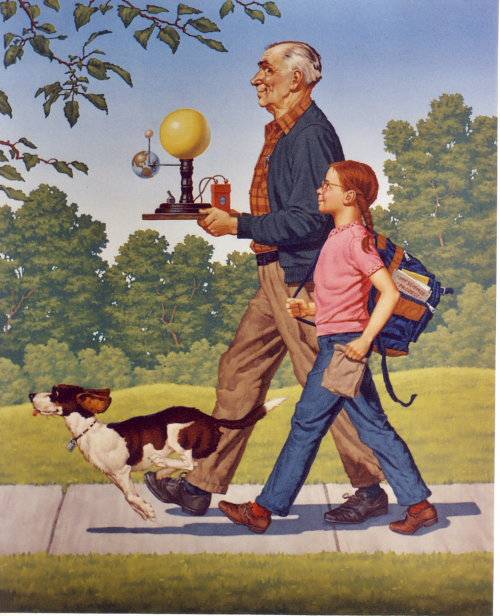 Illustration of Grandpa walking his grand daughter to school with science project