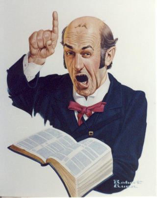 Illustration of preacher calling down the wrath of God on unrepentant sinners