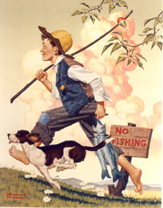 Illustration of young boy with his dog
