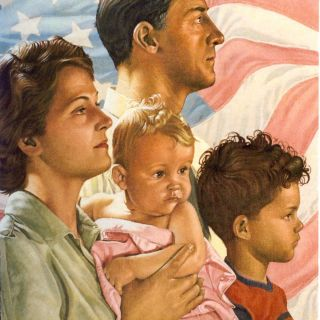 Artwork of young american family