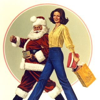 Artwork of vintage girl and santa