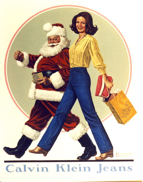 Artwork of vintage girl and santa