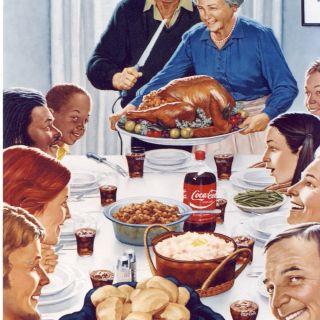 Illustration of vintage family dinner