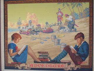 Illustration of kids studying at pirates frame