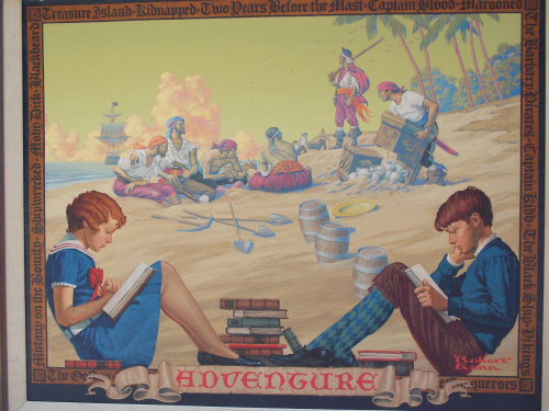 Illustration of kids studying at pirates frame