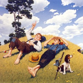 Illustration of two young boys staring at sky