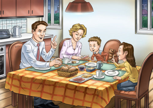 Drawing of Happy Family Having Breakfast