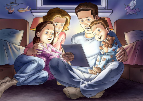 illustration of Parents with Kids watching video on Tablet