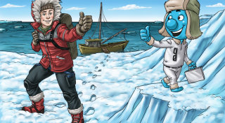 Cartoon Caharater giving thumbs up each other in Iceland