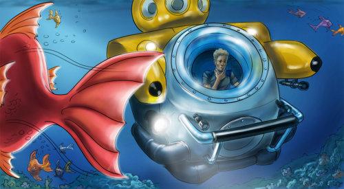 Ilustração de passeio de submarino subaquático