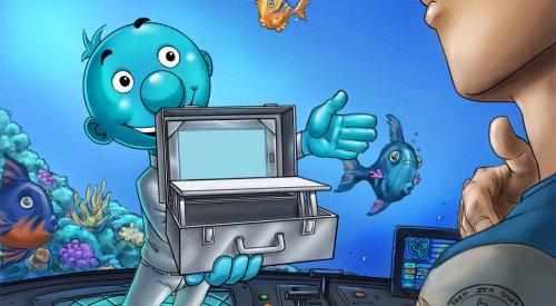 Ilustração de personagem de desenho animado mostrando caixa