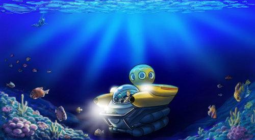 Ilustração dos desenhos animados do mundo subaquático