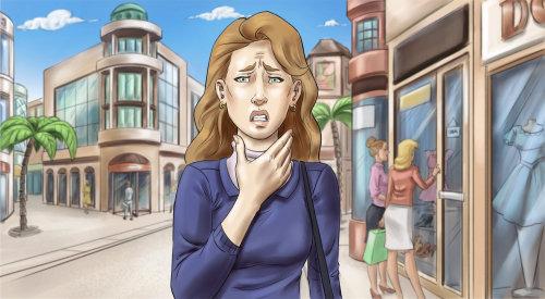 Ilustração de retrato de mulher triste
