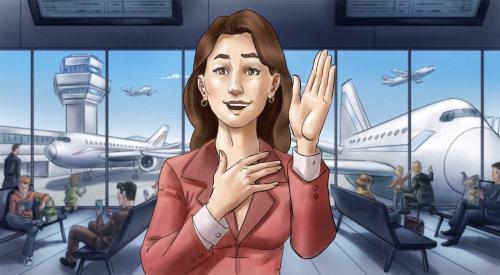 Ilustração de mulher no saguão do aeroporto