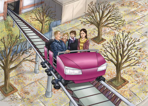 Família viajando na montanha-russa Cartaz gráfico