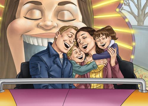 Família em quadrinhos sorrindo na montanha-russa
