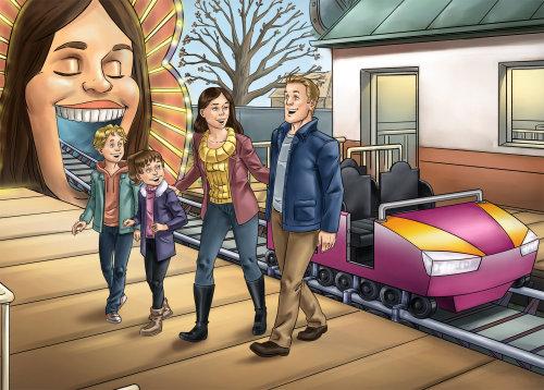 Ilustração em quadrinhos de família em parque de diversões