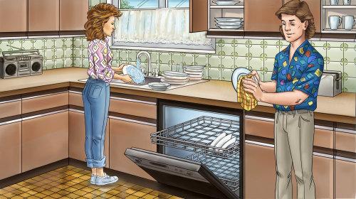 Ilustração de casal de utensílios de limpeza