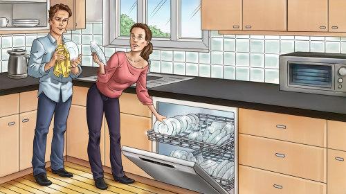 Ilustração gráfica de casal na cozinha