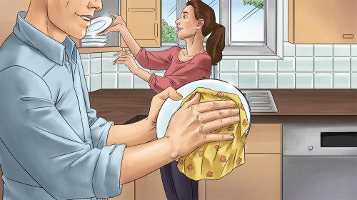 Ilustração gráfica de utensílios de limpeza de casal