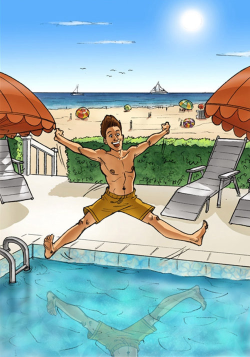 Illustration of man jumping straight in water pool