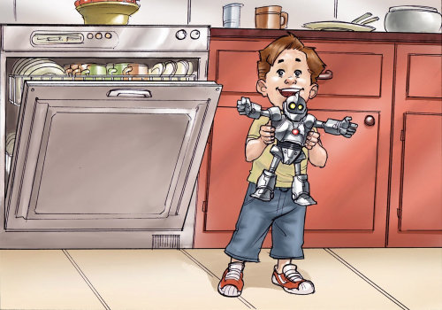 Storyboard kid playing with robot