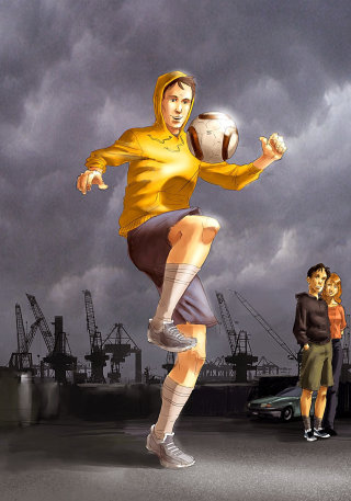 illustration of boy playing football