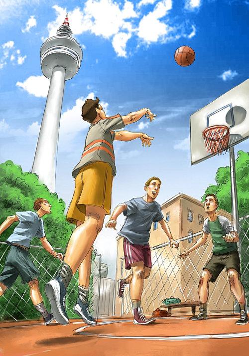 People playing basket ball