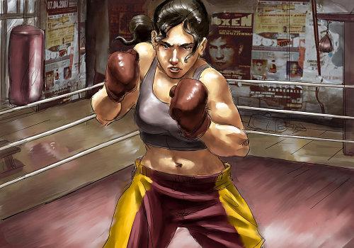 desenho de uma boxeadora