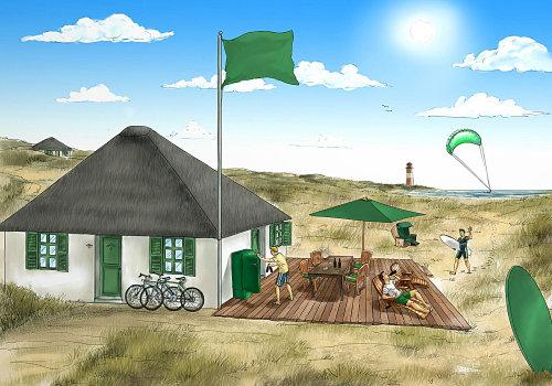 Ilustração gráfica de pessoas em casa de praia