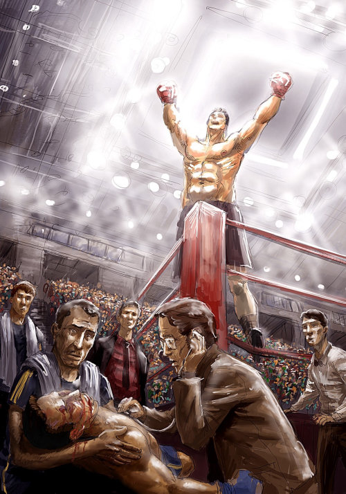 cartoon de um boxeador comemorando após nocaute
