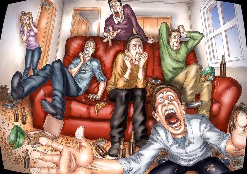Storyboard de pessoas assustadoras em casa