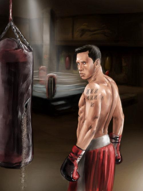 Imagem de um boxeador com bolsa kit